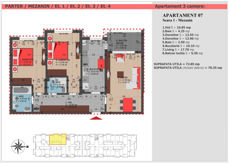 Vanzare apartament, 3 camere, in Sector 3, zona Decebal
